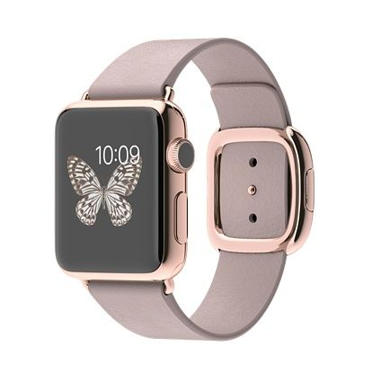 38mm 18-Karat Rose Gold Case with Rose Gray Modern Buckle | Apple Watch Edition