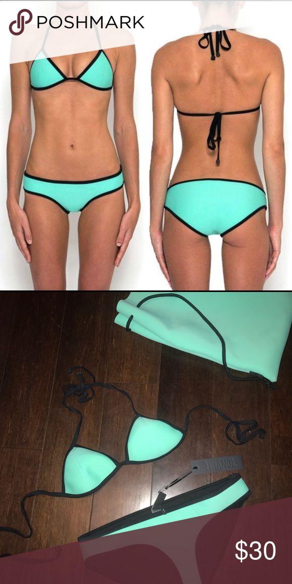 Mint green triangl bikini In perfect condition never been worn, classic triangl bikini. Triangle Swim Bikinis
