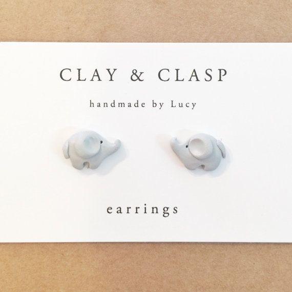 Pendientes elefante joyas de arcilla de polímero por ClayandClasp
