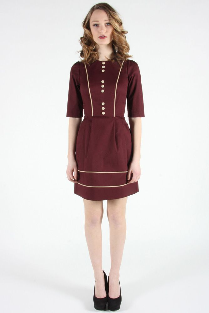Coronet Dress by Birds of North America.  Stretch twill dress with contrast piping.