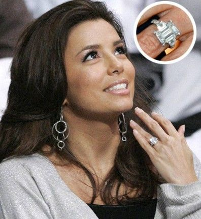 Tony Parker proposed to Eva Longoria with this four-carat emerald cut ring with emerald side stones, designed by Jean Dousset