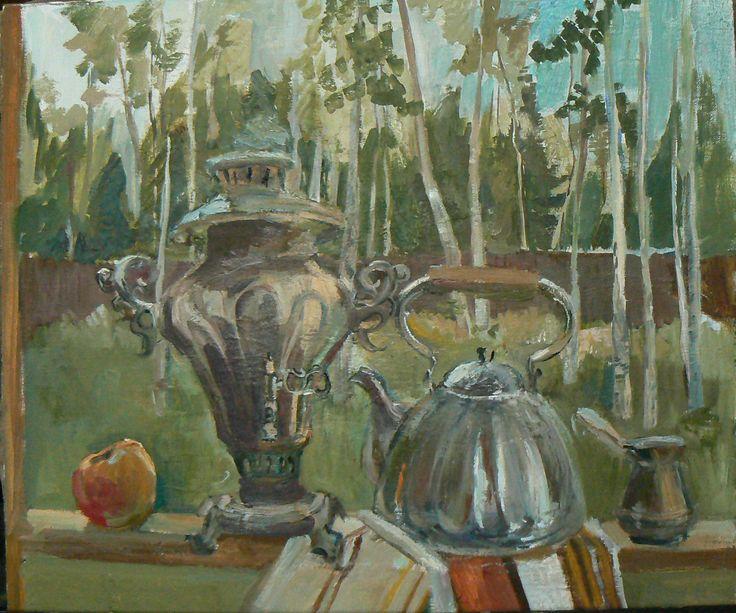 летний пейзаж, дача, холст, масло, 50х70 см summer landscape, summer residence, canvas, oil, 50х70 cm