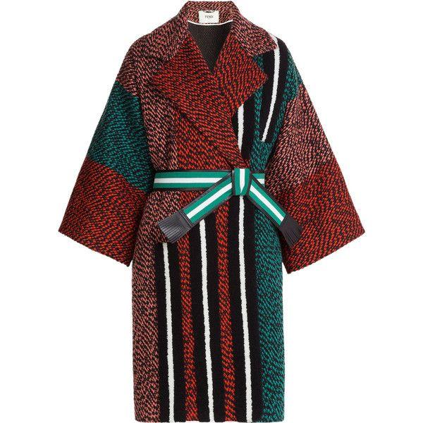 Fendi Tweed Coat ($4,550) ❤ liked on Polyvore featuring outerwear, coats, coats & jackets, dresses, jackets, multicolor, tweed coat, colorful coat, black coat and fendi coat