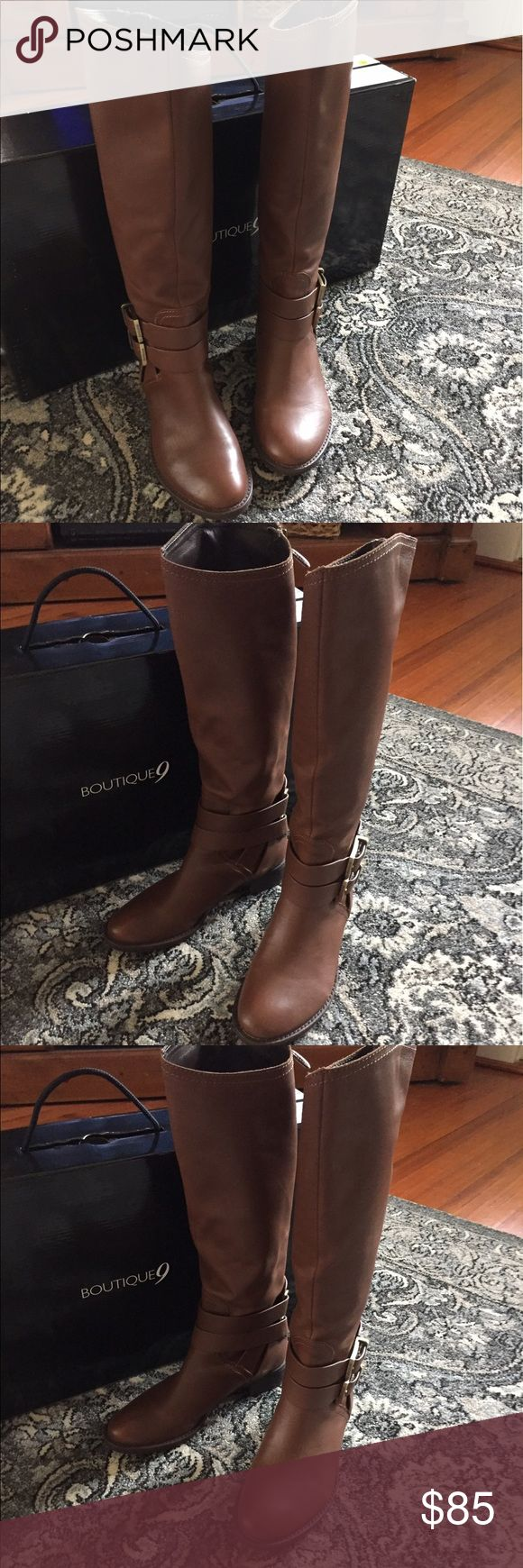 Riding Boots Brown leather Riding boots.  Zipper in back of boot.  Never been worn.  They can be tightened at the ankle using the two straps with buckles on n each boot. 🙂 Boutique 9 Shoes Heeled Boots