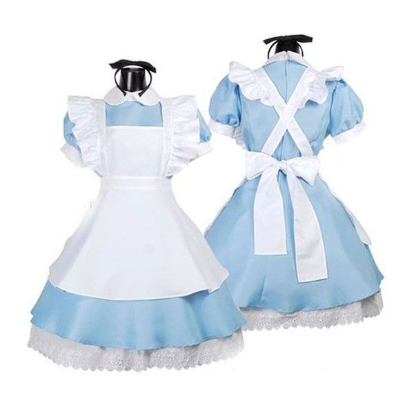 Vakind Halloween Maid Costume Alice In Wonderland Maids Outfit Fancy... ($19) ❤ liked on Polyvore featuring costumes, dresses, cosplay, lolita, maid cosplay costume, alice in wonderland costume, maid costume, fancy costumes and chambermaid costume
