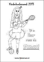 Kleurplaat van Tijl Damen voor de Kinderboekenweek 2013 in het thema 'Sport  en spel'. Klik op de kleurplaat om te downloaden!