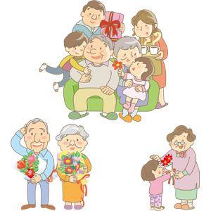 フリーイラスト, ベクター画像, AI, 年中行事, 敬老の日, 人物, 老人, 家族, 祖父(おじいさん), 祖母(おばあさん), 9月, プレゼント, 花束
