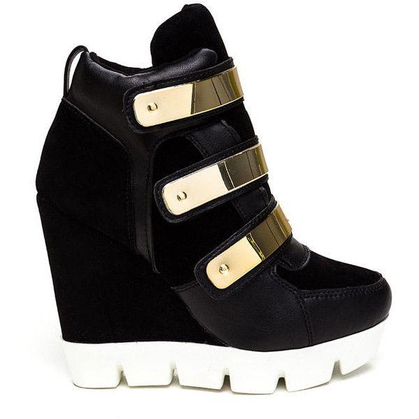 Space Ranger Sneaker Wedges BLACK ($41) ❤ liked on Polyvore featuring shoes, sneakers, black, black wedge shoes, wedge heel shoes, black trainers, kohl shoes and wedge heel sneakers