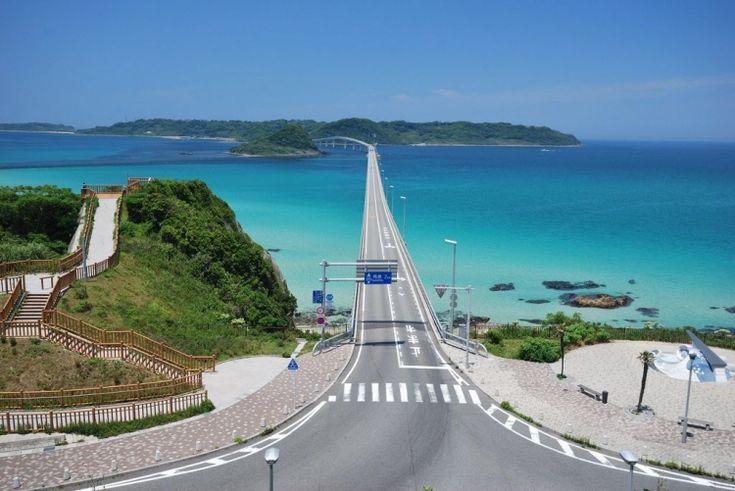 tsunoshima bridge in yamaguchi prefecture, japan