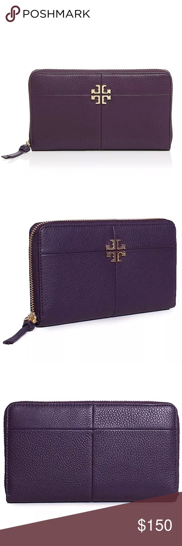 "Tory Burch Black Ivy Zip Continental Wallet Guaranteed 100% authentic & in excellent brand new condition w/ original tags  MSRP: $225.00 + TAX 🚫TRADE    Exterior - Pebbled leather body - Color: Nightshade  - Gold tone hardware - Zip around closure - 1 zipper pocket - Raised designer emblem  Interior - Leather and fabric lining - 2 bill sleeves, 2 slip pockets, 8 card slots, 1 zipper compartment - Debossed designer lettering  Approx: 7.9""L x 4.3""H x 1.2""D Tory Burch Bags Wallets"