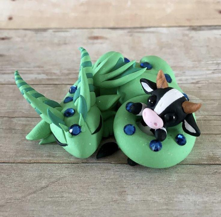 Dragon with Cow Plushie by Dragonsandbeasties