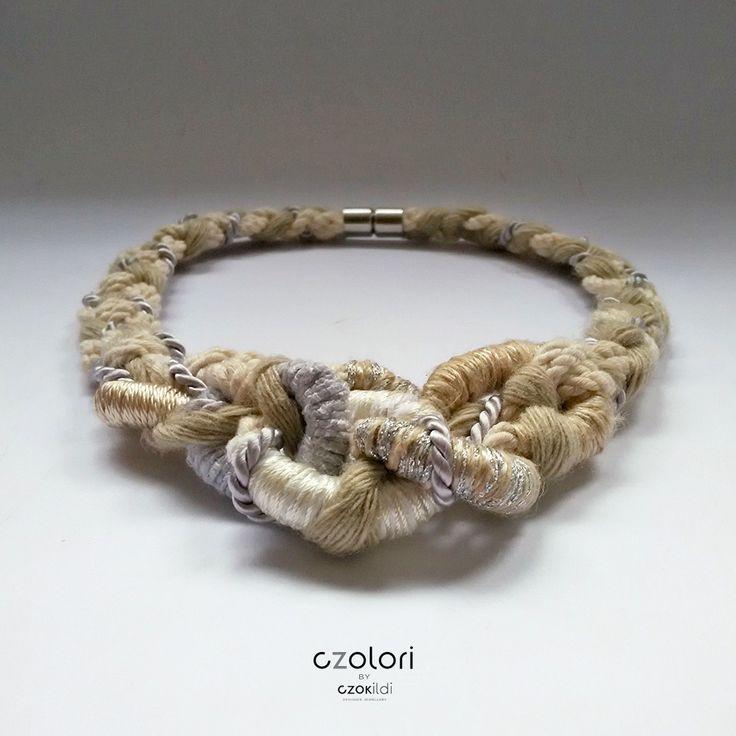 Twisted organic necklace made of yarn and rope, by Czolori.  http://czokildihu.bigcartel.com/