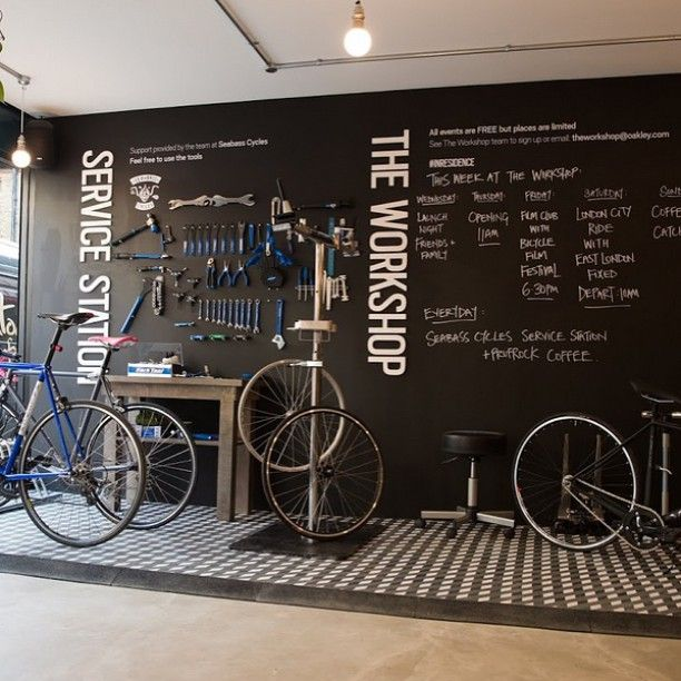 25 best ideas about bike shops on pinterest bicycle pics photos garage workshop design ideas