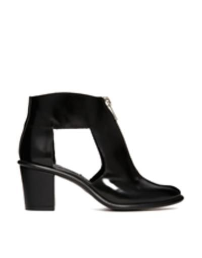 miista amanda leather cut out zip front heeled boots  black #shoes #heels #leather #heeledboots #boots #covetme
