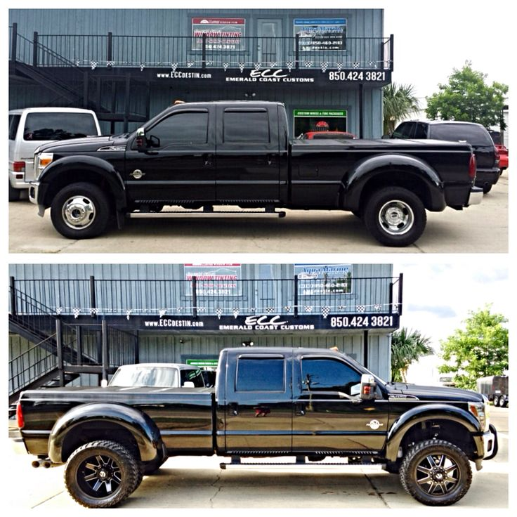 "Before & After - Ford F450 w/ 4"" FABTECH Lift Kit, 22"" FUEL Off-Road Wheels, 35"" NITTO Trail Grapplers, Bull Bar and LED Light Bar, LED Cube Fog Lights, & Aftermarket Headlight Lenses #fabtech #nitto #fuel #f450"