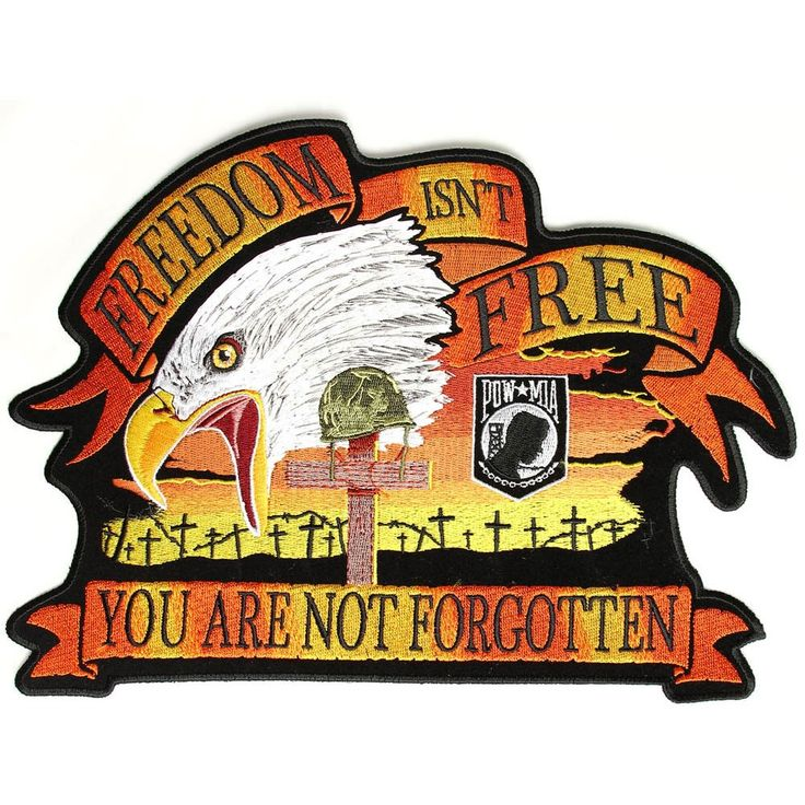 12x9 inchEmbroidered PatchIron on or Sew on ApplicationPlastic Backing & Die Cut BordersPatriotic Patch for the back of your Jacket