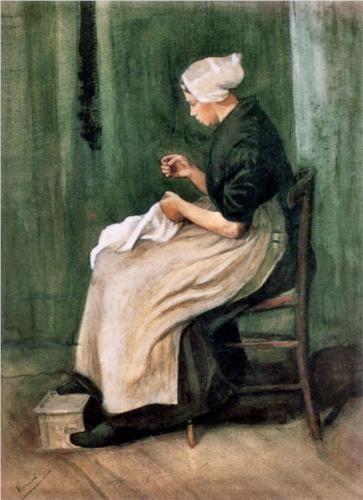 """Scheveningen Woman Sewing"", 1882, by Vincent van Gogh (Dutch, 1853-1890)"