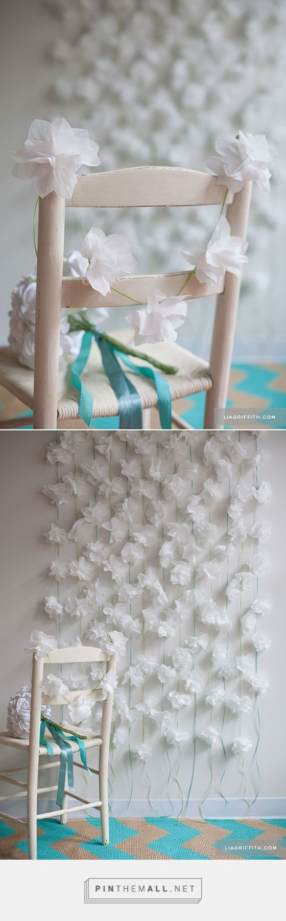 Cocktail Napkin Flower Garland. For more ideas, inspiration and free printable check out www.liagriffith.com