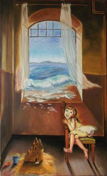 oil on canvas  80 x 50 cm, for sale - dida_lupan@yahoo.com #oil #canvas #traditional #painting #surreal #child #childhood #memory