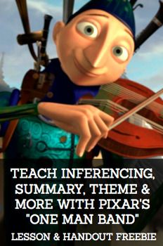 "Inferencing with Pixar Animated Short Film:One Man Band: Common Core ELA Test Prep is FUN with ONE MAN MAND PIXAR VIDEO CLIP ACTIVITIES! Perfect for reluctant readers and students with disabilities. Use PIXAR ""One Man Ban"" videos to teach inferencing, theme, main idea and summary, plot, conflict, characterization and more!"