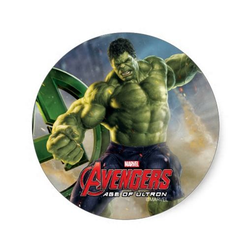The hulk stomping through city classic round stickers for party favors stocking stuffersetc