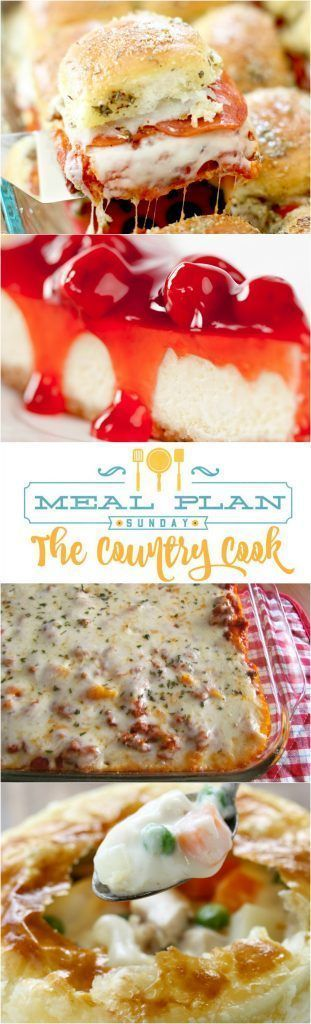 Meal Plan Sunday featured recipes include: Best Baked Ziti, Crock Pot Cubed Steak and Gravy, Loaded Potatoes & Ranch Chicken Casserole, Pizza Sliders, Chicken Pot Pie and cheesecake!