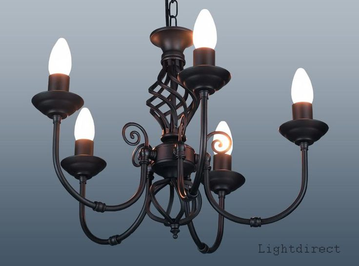 CLASSIC 5 ARM TRADITIONAL TWIST CEILING LIGHT CHANDELIER IN BLACK CREAM OR OTHER