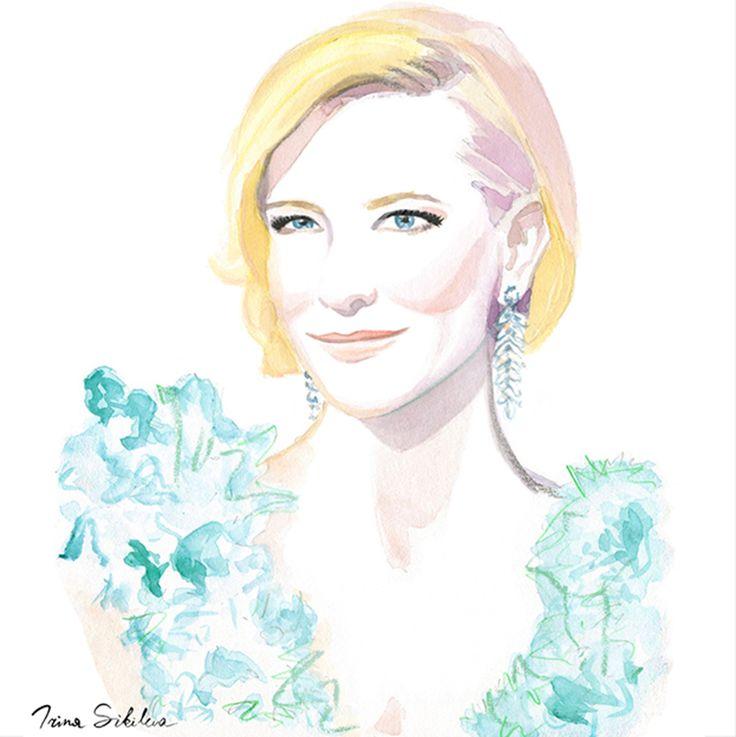 Cate Blanchett, illustration by Irina Sibileva, 2016 #CateBlanchett #fashionillustrator #fashionillustration #IrinaSibileva