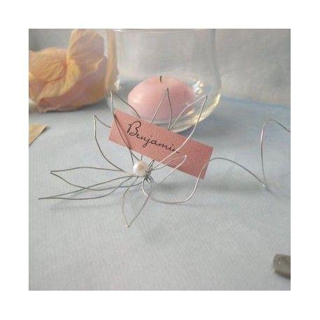 Décoration de mariage sur le thème rétro : Marque-place fleur de fer et menu boîte à cigare