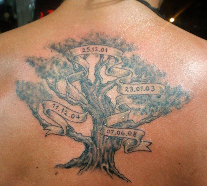 Family tree tattoo with dates