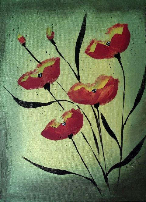 Poppy poppy... akril festmény, Képzőművészet , Otthon, lakberendezés, Festmény, Falikép, Meska