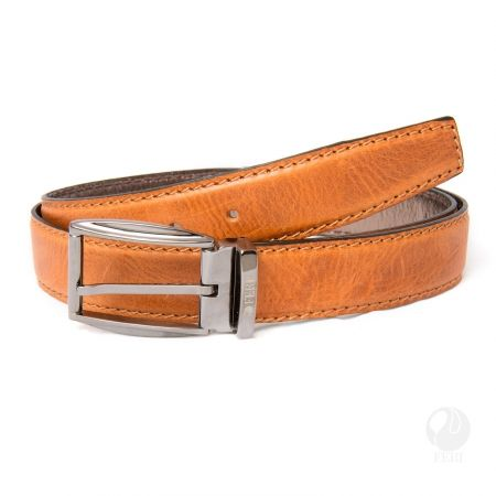 FERI - Adriano Belt - Light Tan - Mens genuine leather belt - Classic belt design with top stitching - Hand made and hand dyed - Buckle is plated with pewter colour - Buckle is custom engraved with FERI logos  Please refer to size chart for your size.  Invest with confidence in FERI Designer Lines.  www.gwtcorp.com/ghem or email fashionforghem.com for big discount