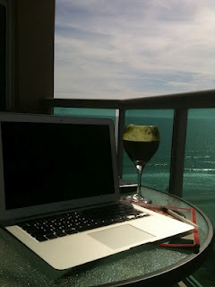 Working, watching dolphins and drinking green smoothie from my outside office in North Myrtle Beach.
