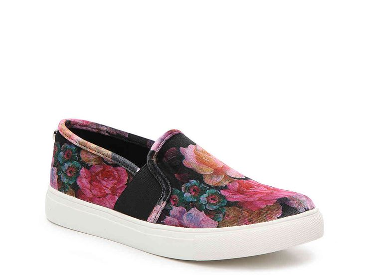 Women's Evangel Velvet Slip-On Sneaker -Multicolor Floral Print. The  Evangel slip-on sneaker will complement your laid back and casual style  effortlessly.