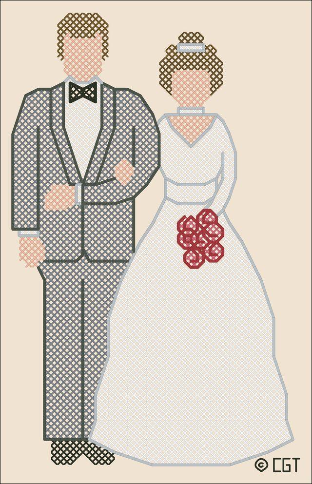 Free Wedding-Themed Cross Stitch Patterns - Wedding and Anniversary Cross Stitch: Wedding Couple Cross Stitch Pattern
