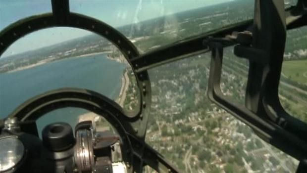 B-29 bomber mid-flight during the Hamilton Air Show