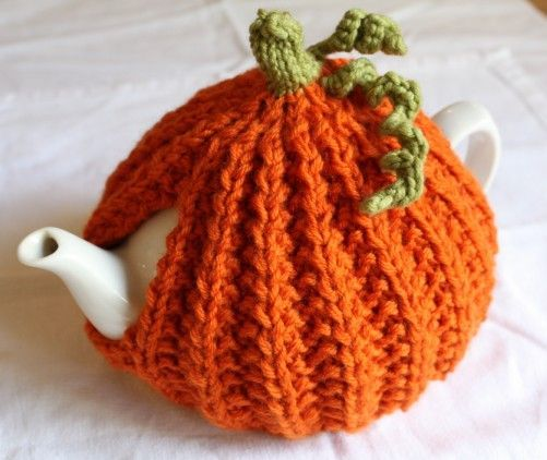 Pumpkin Tea Cosy by Emma Varnam - free pattern                                                                                                                                                                                 More