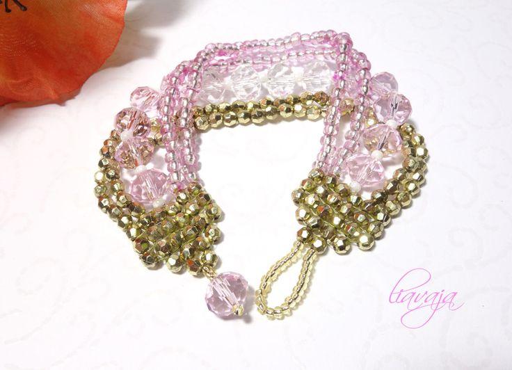 Perlenarmband rosa gold mit Glasschliffperlen gefädelt von liavaja ...