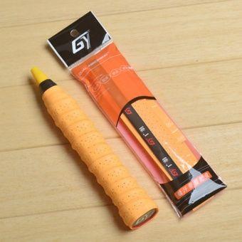 2Pcs Badminton Racquet Accessories Anti-slip Breathable Sport Overgrip Tennis Racket Grip Tape Sweatband (Orange)