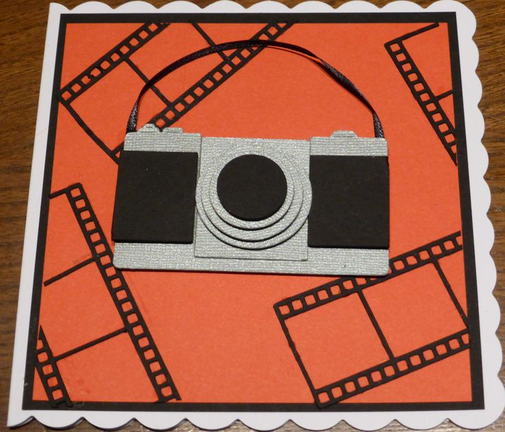 Camera birthday card made using Silhouette Cameo.