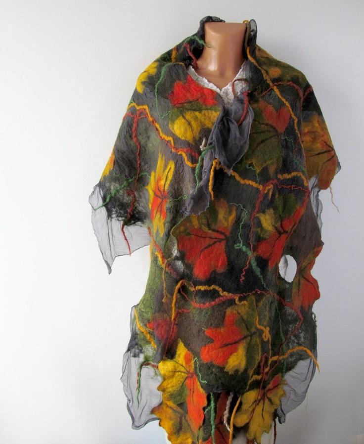 Nuno Felted scarf   Autumn leaf  yellow ginger green orange grey. #nunofelted #scarf #felt #felting #autumn #leaf #grey #fall #wool #silk