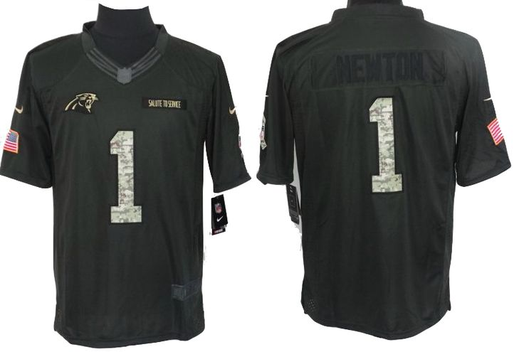 Carolina Panthers Jersey - Cam Newton Anthracite Salute To Service Jersey