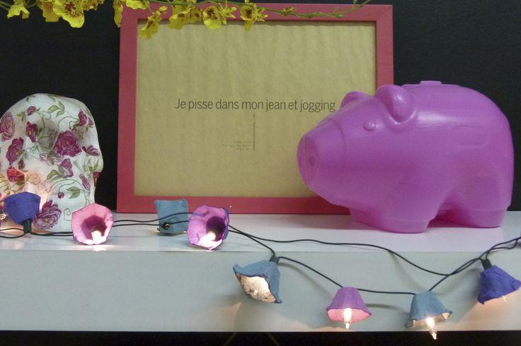 Luzinhas decoradas com caixas de ovos - por Erika Karpuk