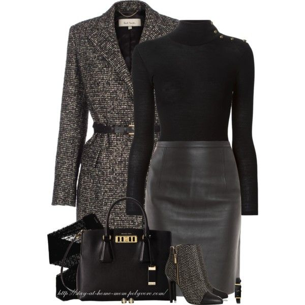 """""""Turtleneck, Leather Skirt & Tweed"""" by stay-at-home-mom on Polyvore"""