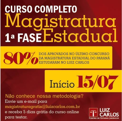 Curso Completo 1ª FASE: Magistratura Estadual do PR De: R$ 2.399,00 Por: R$ 1.399,00 até o dia 15/6/2013. Confira: http://scup.it/2tg1