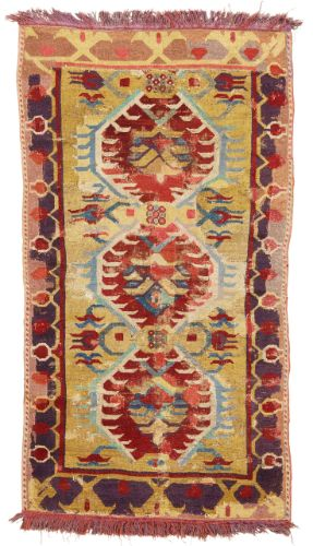 A 'Karapinar' rug fragment, Central Anatolia approximately 187 by 104cm; 6ft. 1in., 3ft. 5in. 18th century