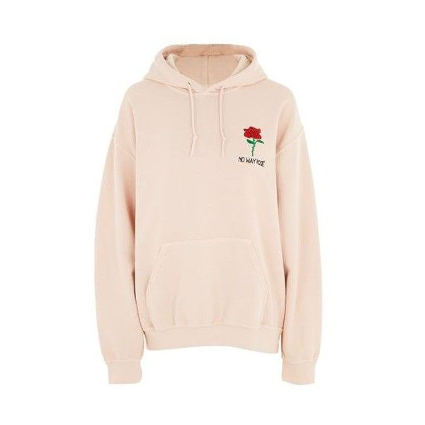 Topshop Petite No Way Rose Motif Hoodie ($47) ❤ liked on Polyvore featuring tops, hoodies, dirty pink, petite hoodie, boyfriend tops, boyfriend hoodie, tee and cake and hoodie top