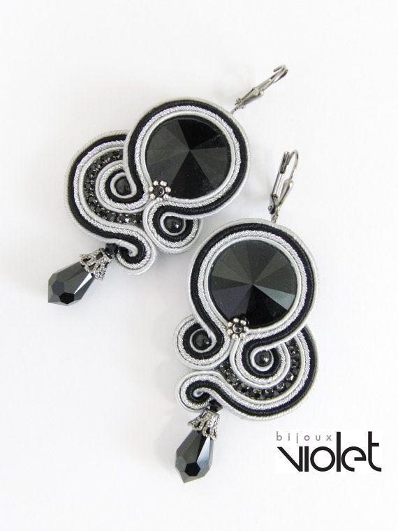 Black Treasury II. soutache earrings by Violetbijoux on Etsy, $49.00