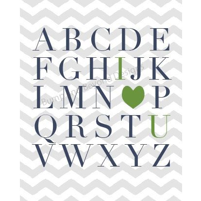 Printable NURSERY WALL ART Blue Green Boy Nursery Bedroom Wall Art Digital ABCs I Love You Wall Art Instant Download Baby Shower Gift 001