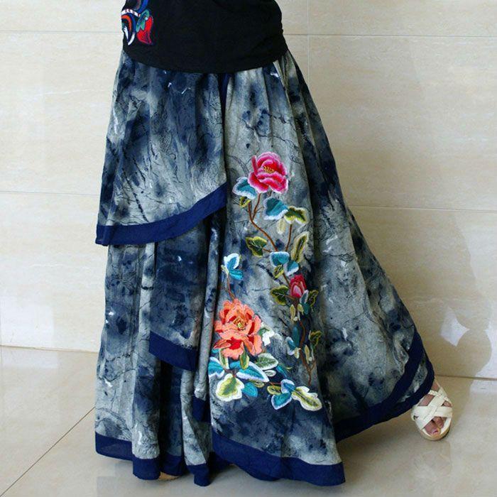 Старинные свободного покроя нерегулярные вышитые цветок женский длинная юбка роман / джинсы макси юбки для женщин купить на AliExpress
